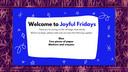 Joyful Fridays T is for Talented